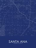 Santa Ana, United States of America Blue Map Prints