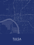 Tulsa, United States of America Blue Map Posters
