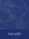 San Jose, United States of America Blue Map Photo