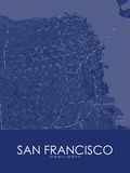 South San Francisco, United States of America Blue Map Prints