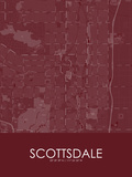 Scottsdale, United States of America Red Map Posters