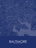 Baltimore, United States of America Blue Map Posters