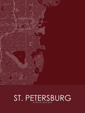 St. Petersburg, United States of America Red Map Poster