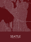 Seattle, United States of America Red Map Prints