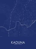 Kaduna, Nigeria Blue Map Photo