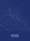 Boise, United States of America Blue Map Prints
