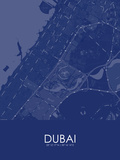 Dubai, United Arab Emirates Blue Map Posters
