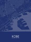 Kobe, Japan Blue Map Print