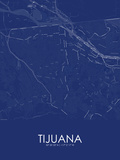 Tijuana, Mexico Blue Map Prints
