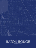 Baton Rouge, United States of America Blue Map Poster