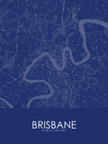 Brisbane, Australia Blue Map Prints