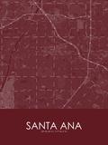 Santa Ana, United States of America Red Map Print