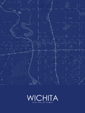 Wichita, United States of America Blue Map Prints