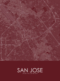 San Jose, United States of America Red Map Posters