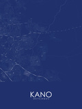 Kano, Nigeria Blue Map Prints