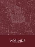 Adelaide, Australia Red Map Print