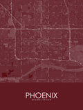 Phoenix, United States of America Red Map Poster