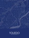 Toledo, United States of America Blue Map Posters