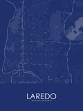 Laredo, United States of America Blue Map Posters