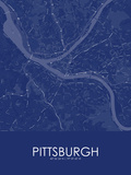 Pittsburgh, United States of America Blue Map Prints