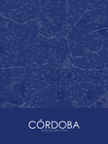 Cordoba, Argentina Blue Map Posters