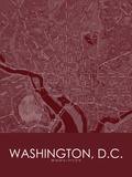 Washington, D.C., United States of America Red Map Posters