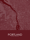 Portland, United States of America Red Map Prints