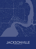 Jacksonville, United States of America Blue Map Print