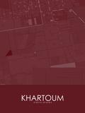 Khartoum, Sudan Red Map Posters