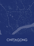 Chittagong, Bangladesh Blue Map Poster