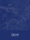 Delhi, India Blue Map Prints
