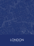 London, Canada Blue Map Posters