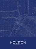 Houston, United States of America Blue Map Photo