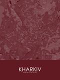 Kharkiv, Ukraine Red Map Posters