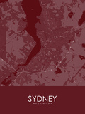 Sydney, Canada Red Map Prints