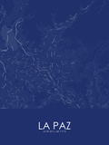 La Paz, Bolivia Blue Map Prints