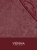 Vienna, Austria Red Map Posters