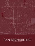 San Bernardino, United States of America Red Map Prints