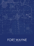 Fort Wayne, United States of America Blue Map Posters