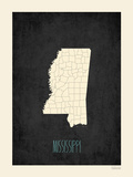 Black Map Mississippi Posters by Rebecca Peragine