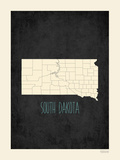 Black Map South Dakota Poster by Rebecca Peragine