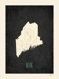 Black Map Maine Prints by Rebecca Peragine
