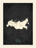 Black Map Russia Print by Rebecca Peragine