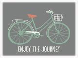 Tekst: Enjoy the journey (Geniet van de reis) met fiets Posters van Lila Fe