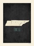 Black Map Tennessee Prints by Rebecca Peragine