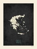 Black Map Greece Plakat af Rebecca Peragine