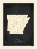 Black Map Arkansas Poster by Rebecca Peragine