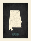 Black Map Alabama Prints by Rebecca Peragine