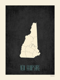 Black Map New Hampshire Posters by Rebecca Peragine
