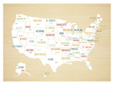 Wood USA Map Prints by Rebecca Peragine